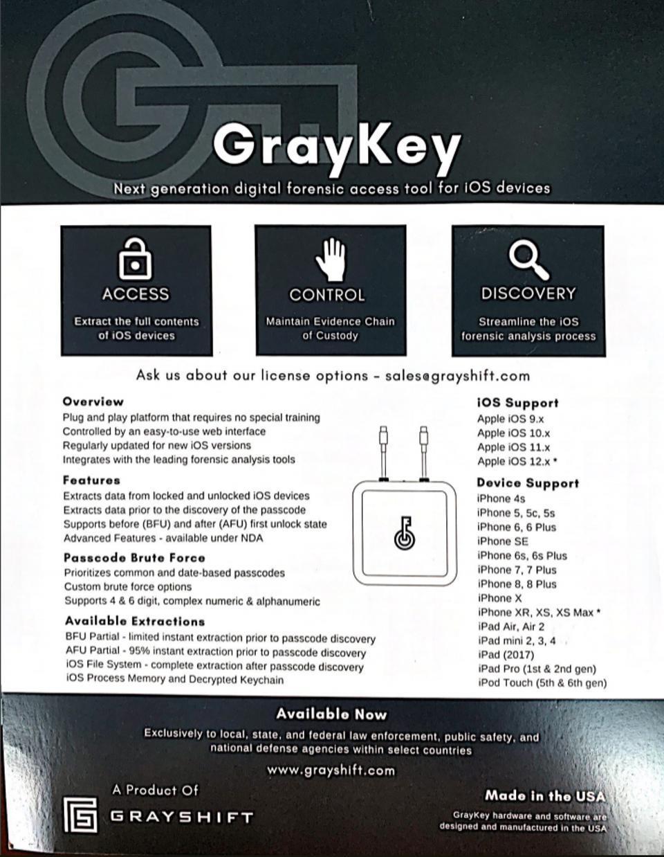 Grayshift's GrayKey brochure 2018
