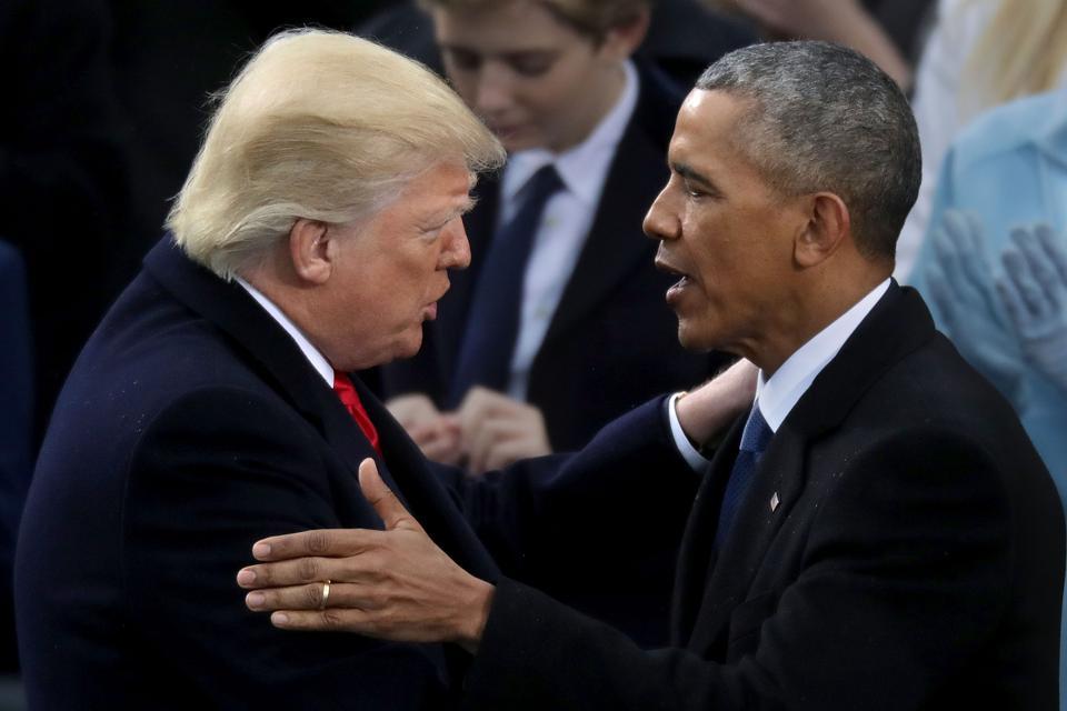 Former U.S. President Barack Obama congratulates U.S. President Donald Trump after he took the oath of office.
