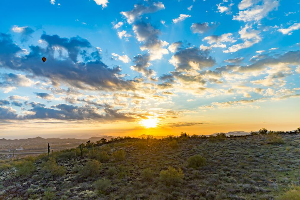 Scottsdale, AZ - The sunrise from an Arizona Balloon sunrise ride