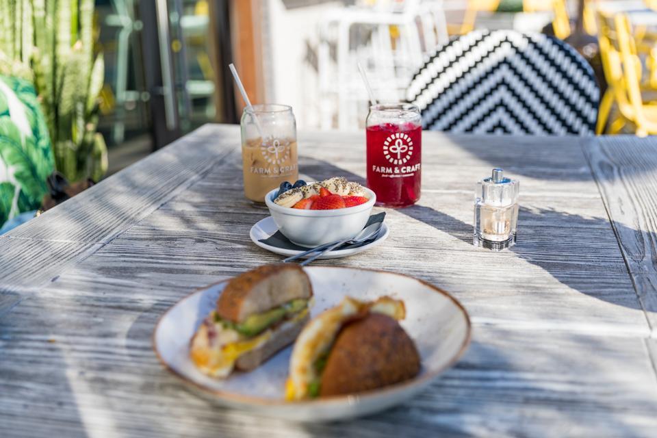 Scottsdale, AZ - A breakfast sandwich and acai bowl at Farm & Craft