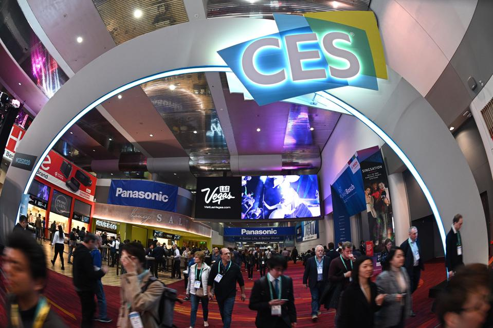 Attendees walk through the Las Vegas Convention Center during CES 2020.
