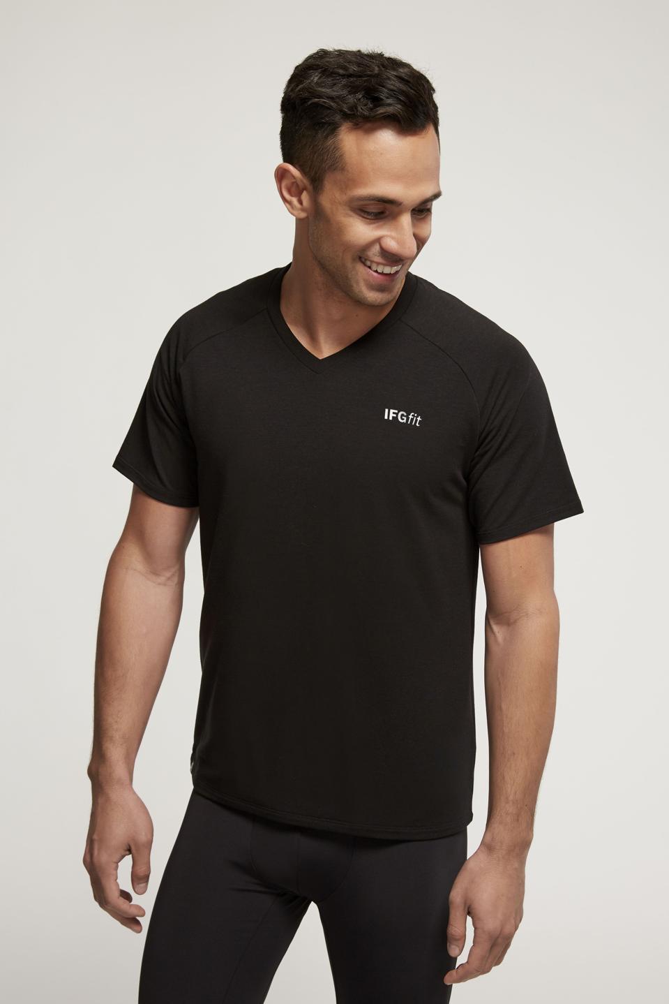 Men's Tencel V-Neck in Black on model
