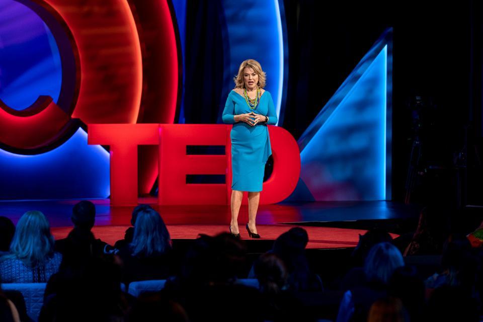 Pat Mitchell speaks at TEDWomen 2019: Bold + Brilliant, December 4-6, 2019, Palm Springs, California.