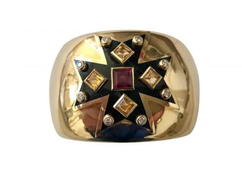 Verdura Maltese cross 18-karat gold citrine, diamond rhodolite garnet DK Farmum Estate Jewelry Dana Kraus