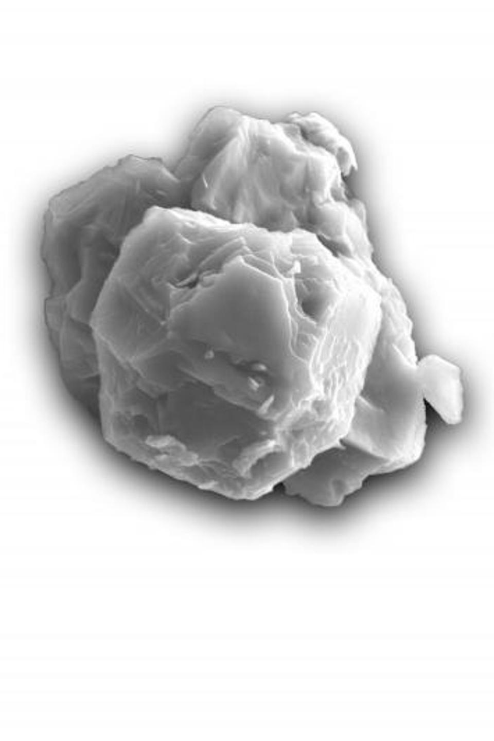 Scanning electron micrograph of a dated presolar silicon carbide grain. The grain is ~8 micrometers in its longest dimension.