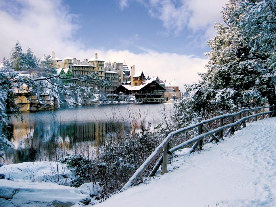 Mohonk Mountain House sets a picturesque winter scene for guests.