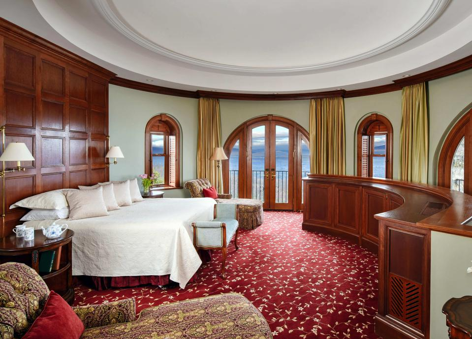 Opulent accommodations await guests.