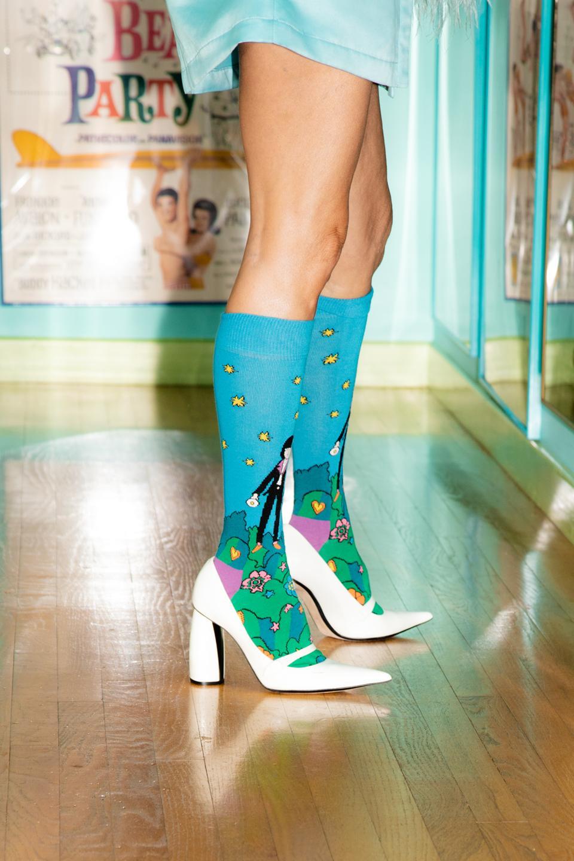 The Johnny and Linda Ramone knee-high socks for Happy Socks.