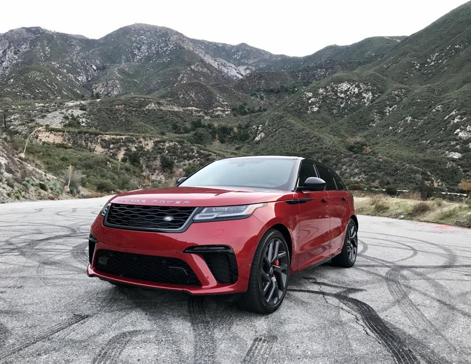 Velar wears the familiar Range Rover face, though steeply canted backwards.