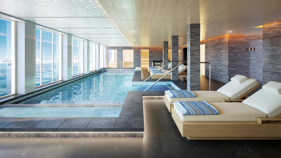 The Nordic-style Spa and Hydrotherapy Pool will be familiar to guests who have sailed on Viking ocean cruises.