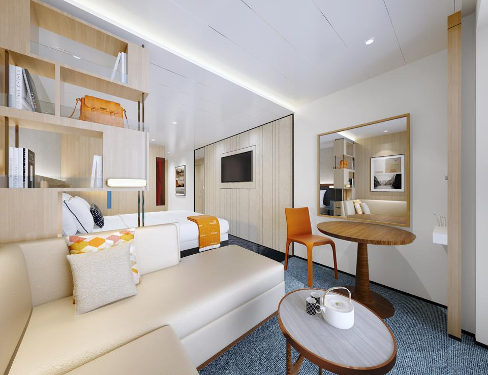 Artist rendering of a Nordic Balcony Stateroom on a Viking Expedition Ship
