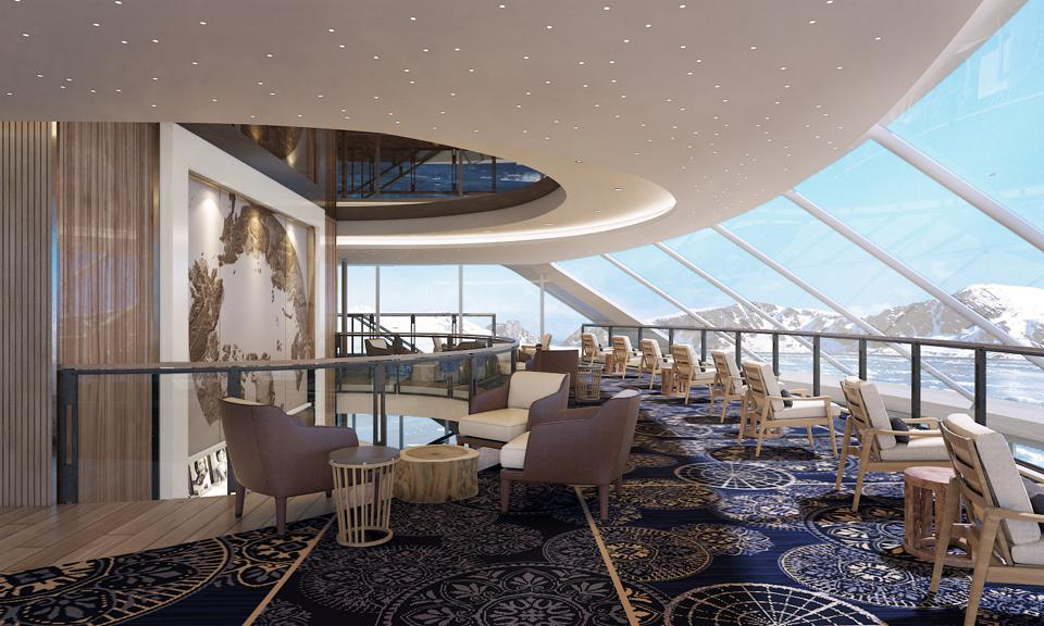 Artist rendering of Explorer's Lounge on a Viking Expedition Ship