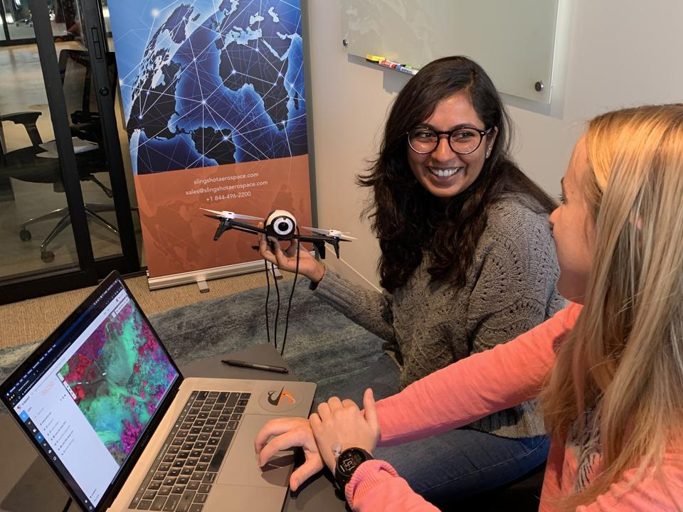 Apoorva Desai and Megan Spencer led development of Slingshot's edge processing algorithms for natural disaster response which now serves a military mission, saving lives and money.