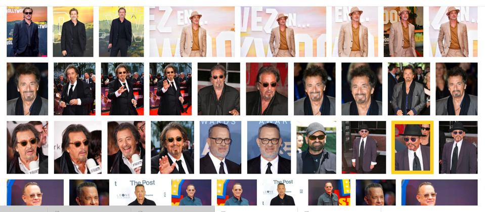 Four lines of images representing white male Oscar winners Brad Pitt, Al Pacino, Tom Hanks