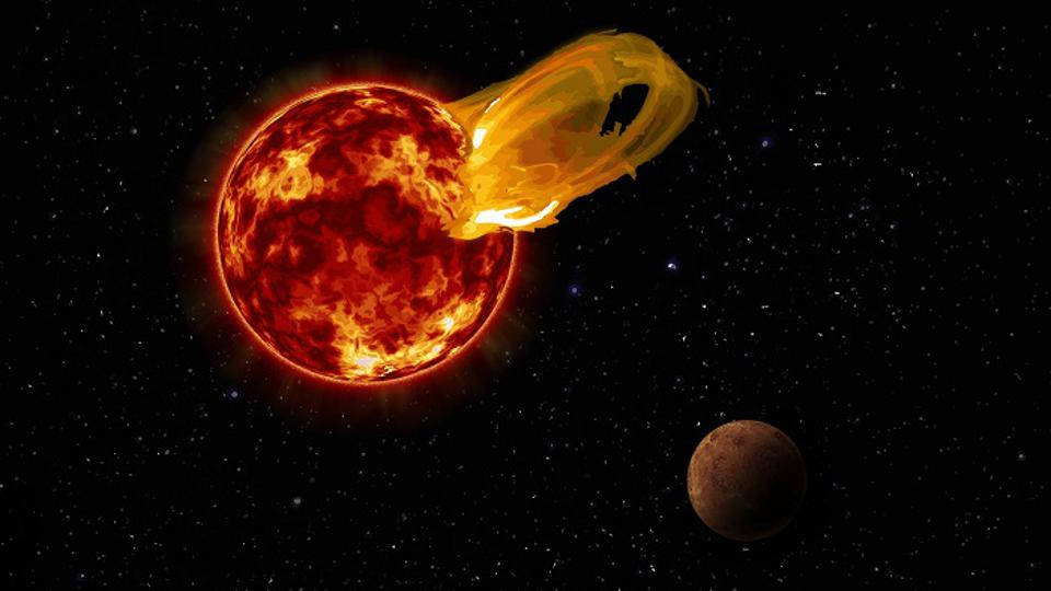 n artist's impression of a flare from Proxima Centauri, modeled after the loops of glowing hot gas seen in the largest solar flares. An artist's impression of the exoplanet Proxima b is shown in the foreground. Proxima b orbits its star 20 times closer than the Earth orbits the Sun. A flare 10 times larger than a major solar flare would blast Proxima b with 4,000 times more radiation than the Earth gets from our Sun's flares.