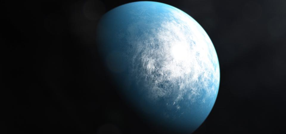 An illustration of a blue planet in space with white clouds in its atmosphere.