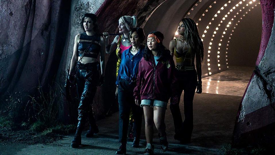 Rosie Perez, Jurnee Smollett-Bell, Mary Elizabeth Winstead, Margot Robbie, and Ella Jay Basco in DC Films' 'Birds of Prey (And the Fantabulous Emancipation of One Harley Quinn)'