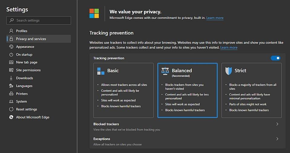 The Edge privacy dashboard