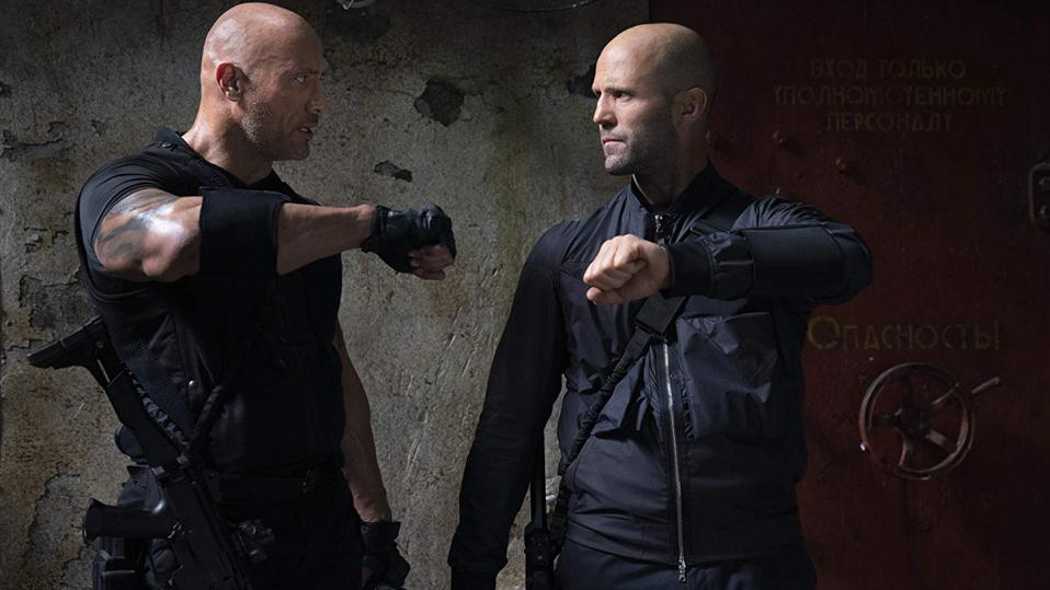 Dwayne Johnson and Jason Statham in Universal's 'Fast and Furious Presents Hobbs and Shaw'