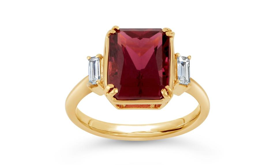 MAE WEST 18K GOLD FINE TOURMALINE AND BAGUETTE CUT DIAMOND RING