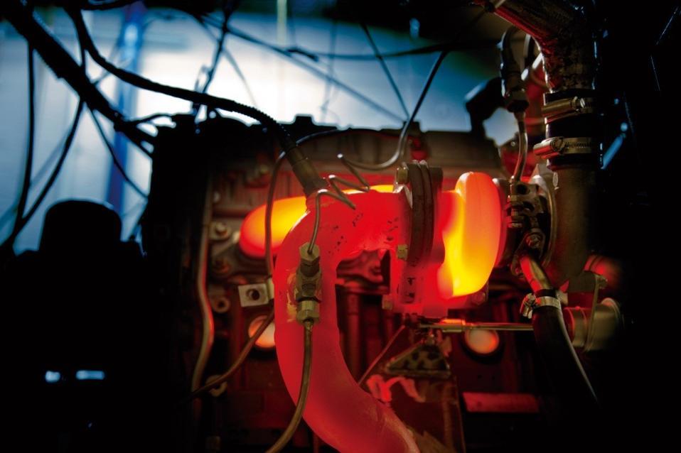 A turbocharger undergoing a durability test