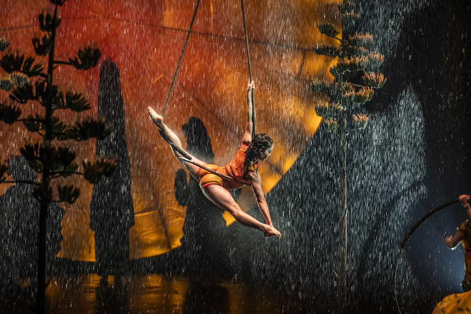 A trapeze artist in Luzia, a Cirque du Soleil production at the Royal Albert Hall
