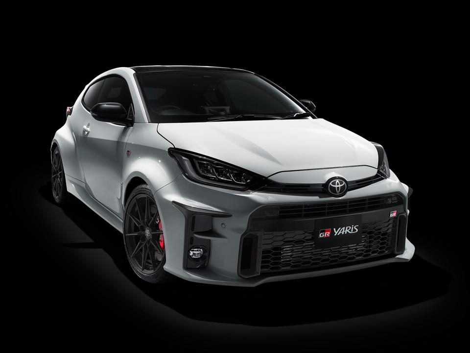 2020 Toyota GR Yaris in white on a black background