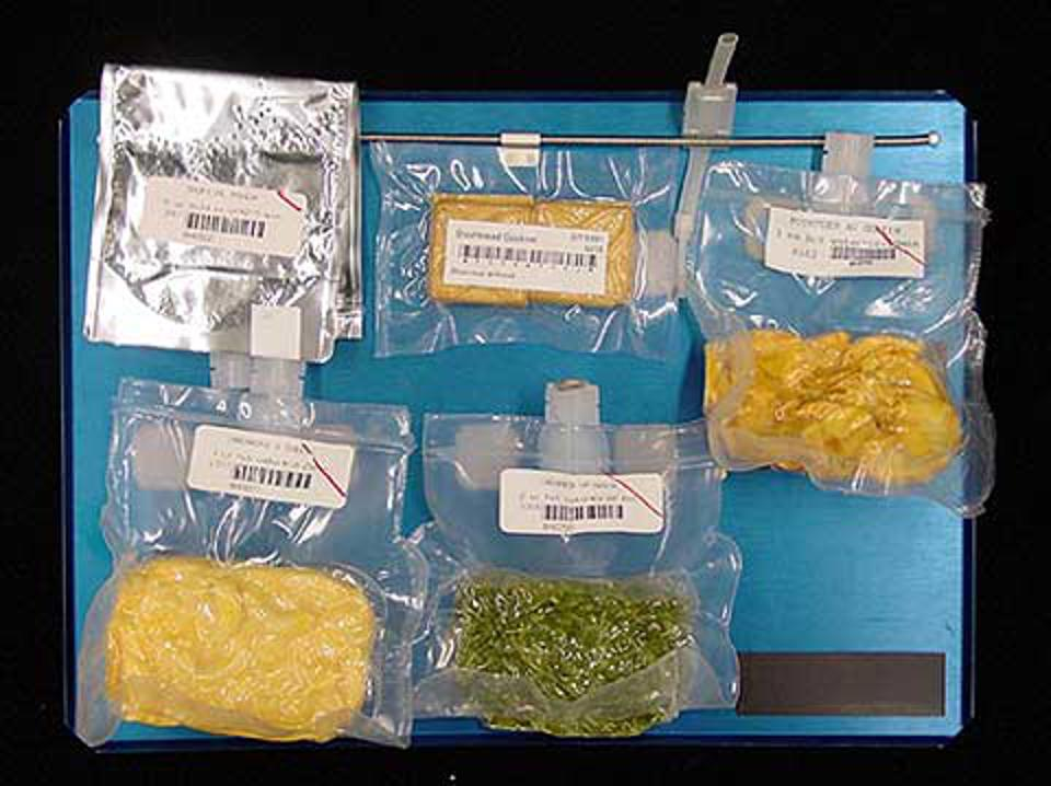 Various examples of encapsulated space food including a space shuttle food tray.