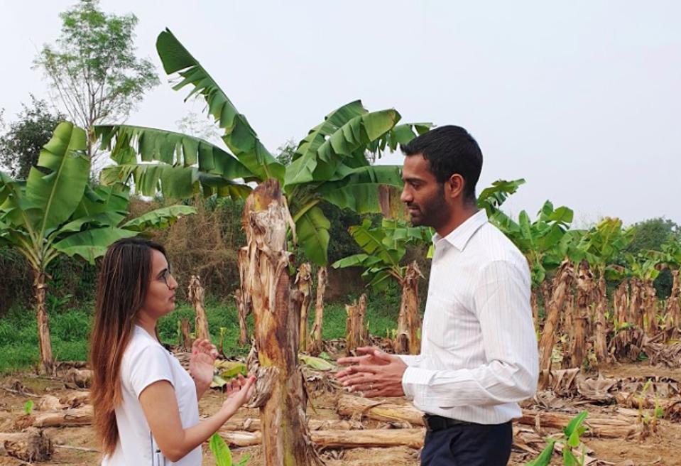 The founders on Chirag's banana plantation