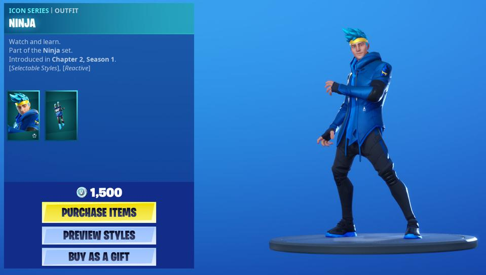 Fortnite's Ninja 'Icon' Skin Has Just Gone Live, And It's The Start Of Something Big