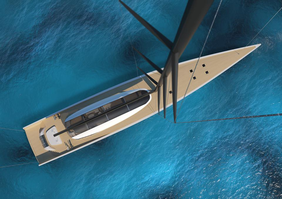 The 200-foot-long sustainable superyacht has a nearly 300-foot-tall mast