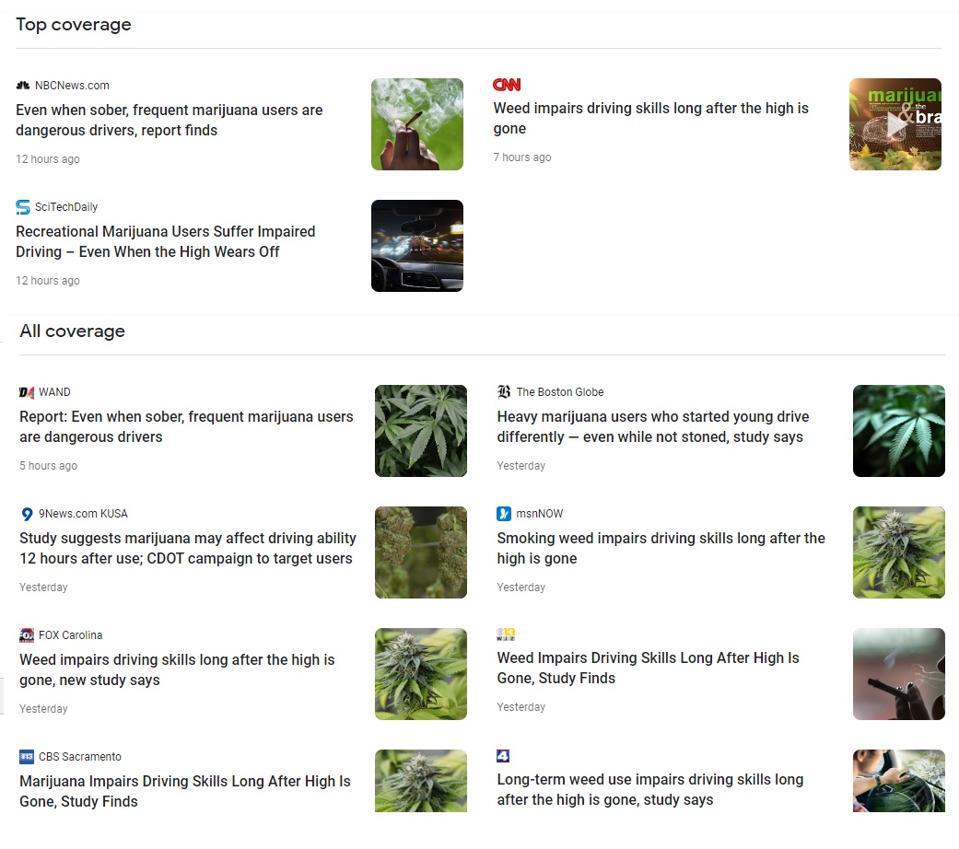 cannabis driving google news screenshots
