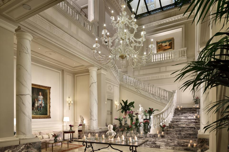 Palazzo Parigi's elegant Italian lobby.