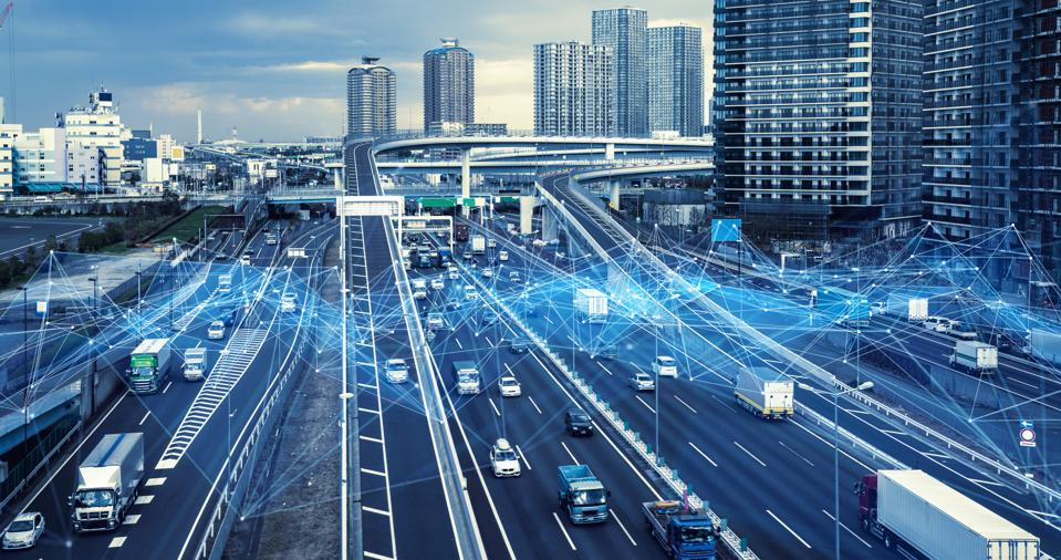 Technology of transportation concept. Traffic control systems. Internet of Things. Mobility as a service.