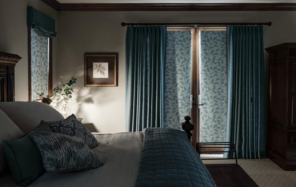 Room with blackout window coverings