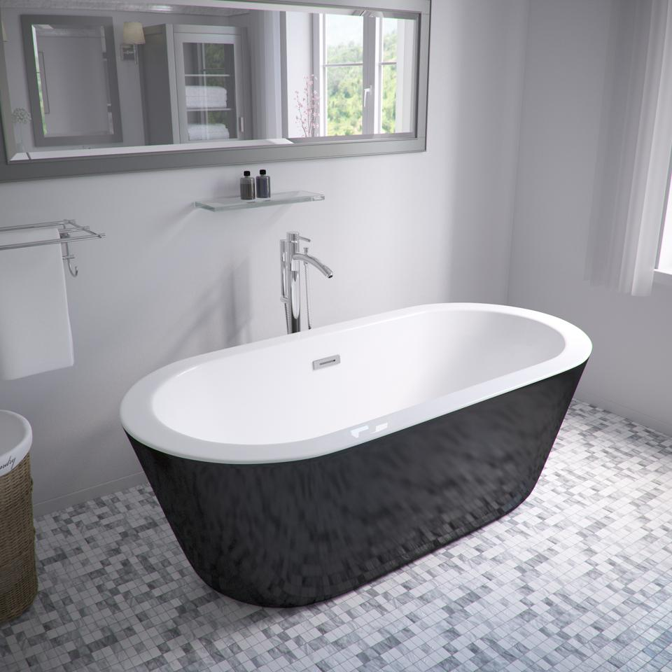 The freestanding soaking tub is part of the Wyndham Collection.