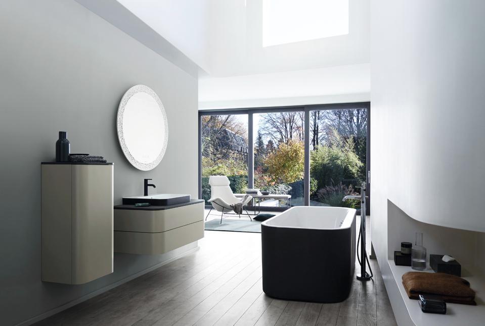 Duravit offers many of its tubs, sinks, cabinets and accessories in black.