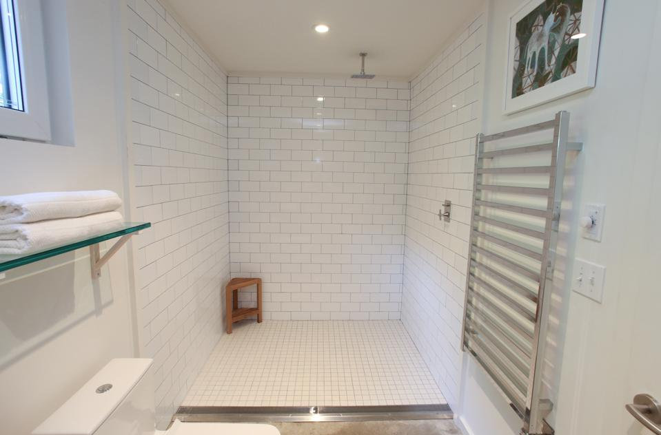 The shower is rimless making it easily accessible so this house can be a ″forever″ home.