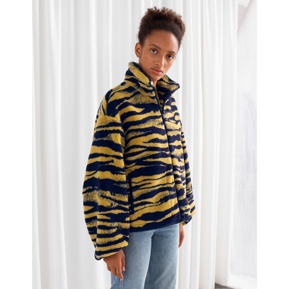 & Other Stories Tiger Print Utility Fleece Jacket