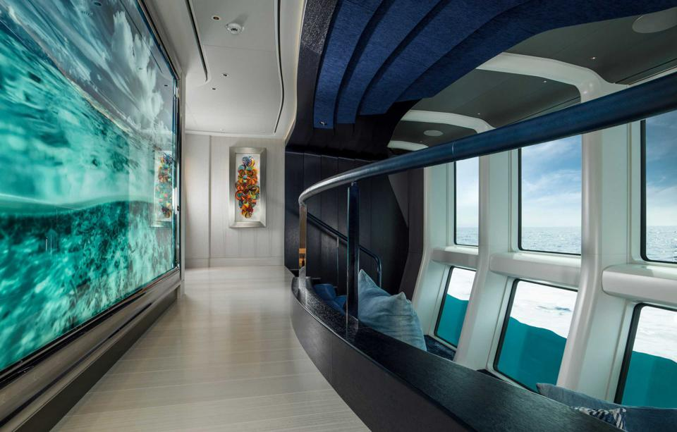 The innovative underwater viewing lounge aboard Elandess.