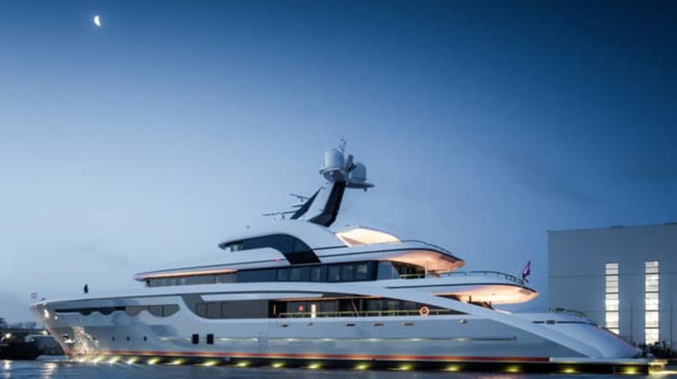 The 226-foot-long superyacht Soaring shortly after her recent launch