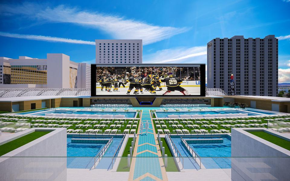 The massive rooftop pool complex is just one highlight of the all-new Circa Las Vegas