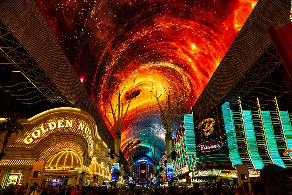 The just upgraded Viva Vision Canopy, a multi-media sensory experience covering Fremont Street.
