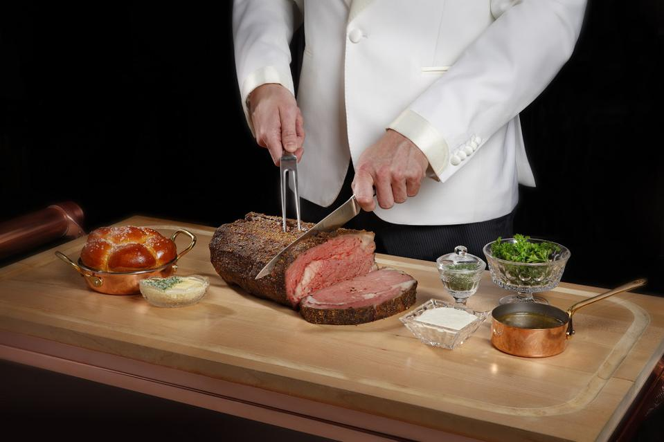 Carving prime rib table-side at the new Mayfair Supper Club in the Bellagio