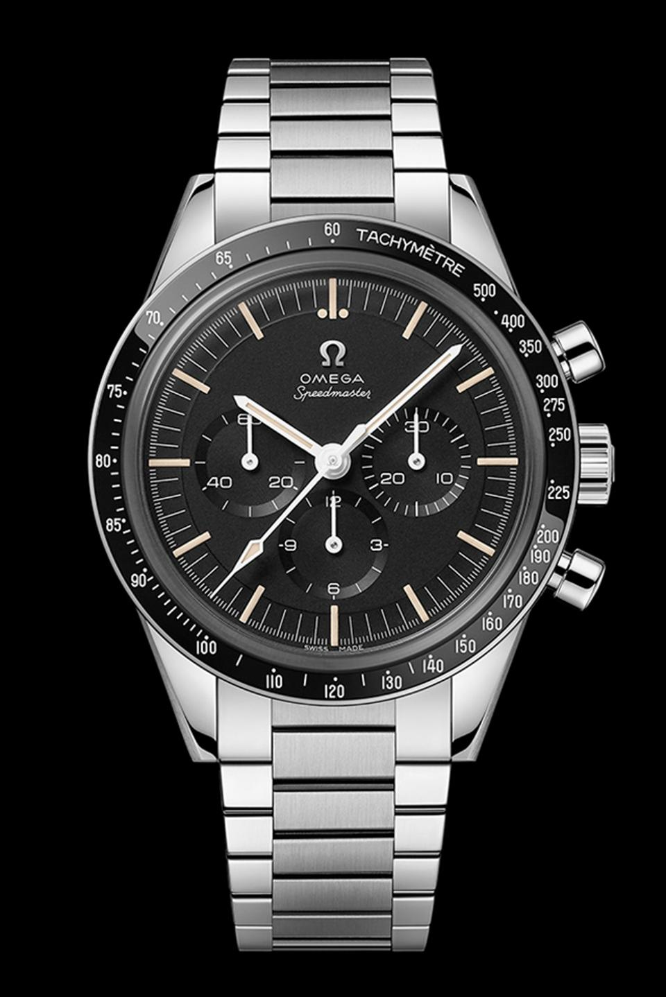 The Omega Speedmaster 321 Moonwatch in stainless steel.
