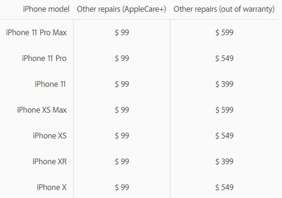 Cracked iPhone screen repair prices