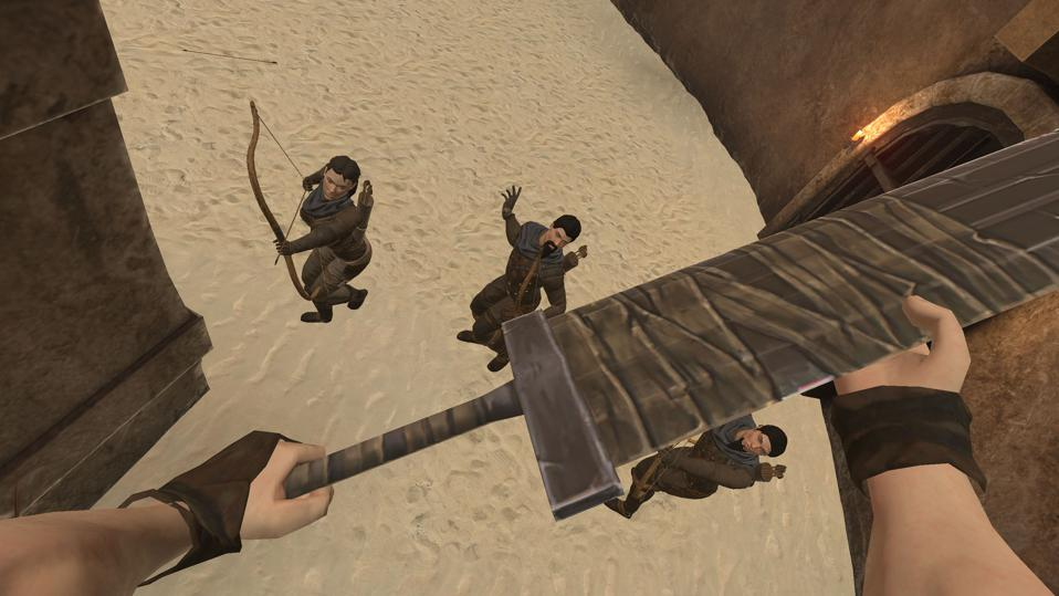A large sword being used against three archers.