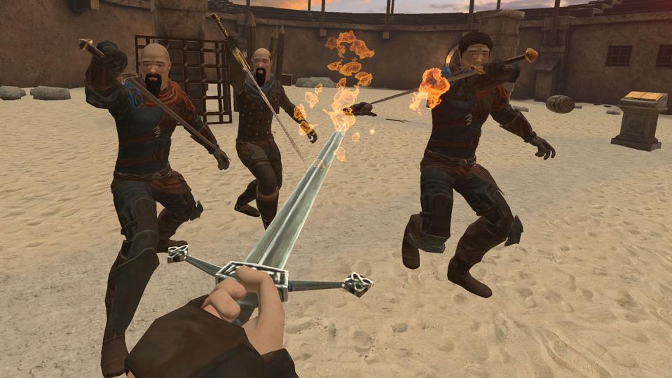 A flaming sword being used against three enemies.