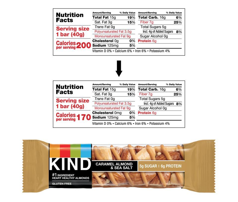 KIND bar calorie counts