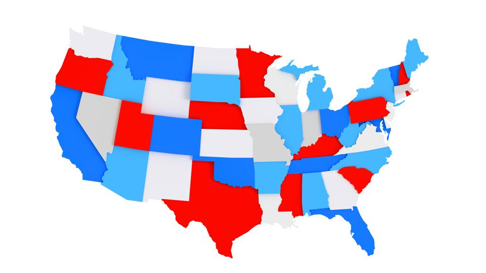 Colorful 3D US States map